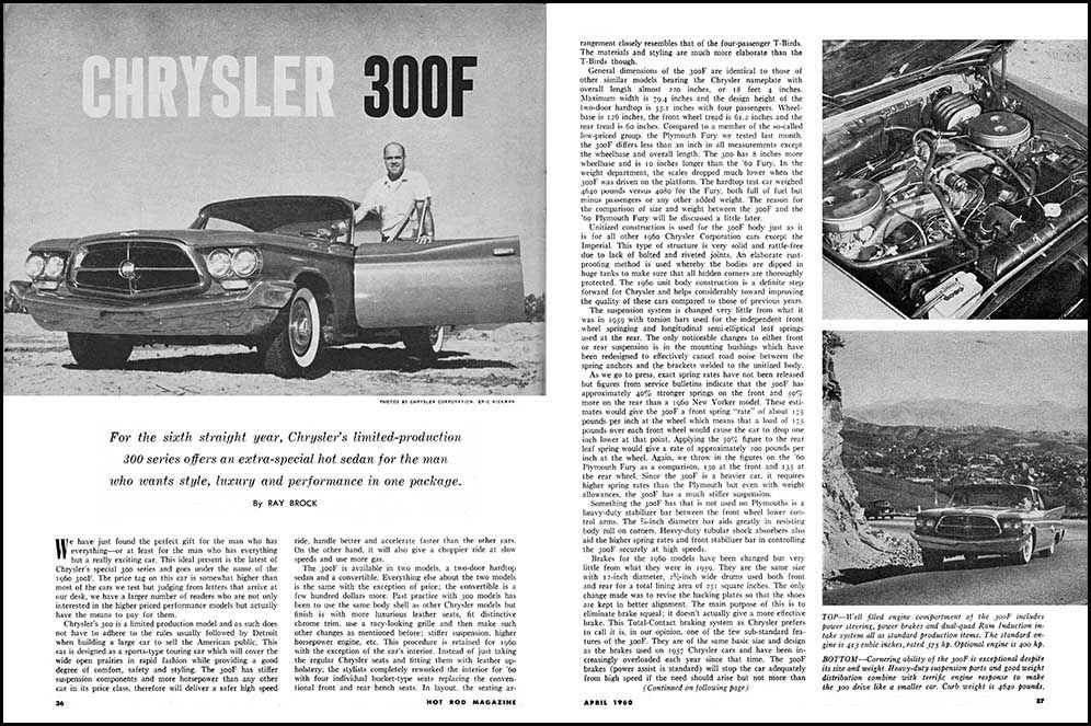 1960 Chrysler 300F Test