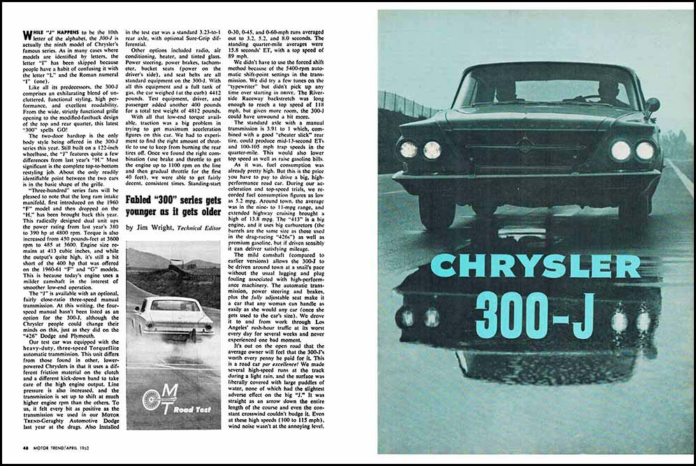 1963 Chrysler 300J Test