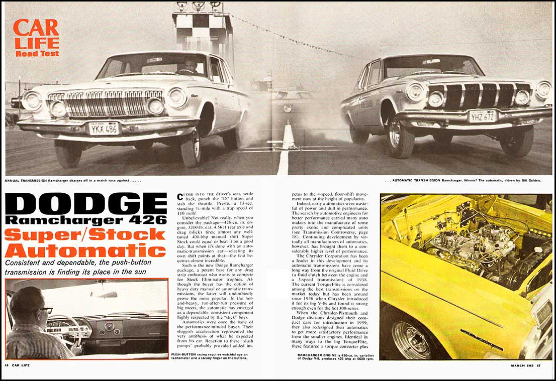 Two 1963 Dodge Ramchargers Test