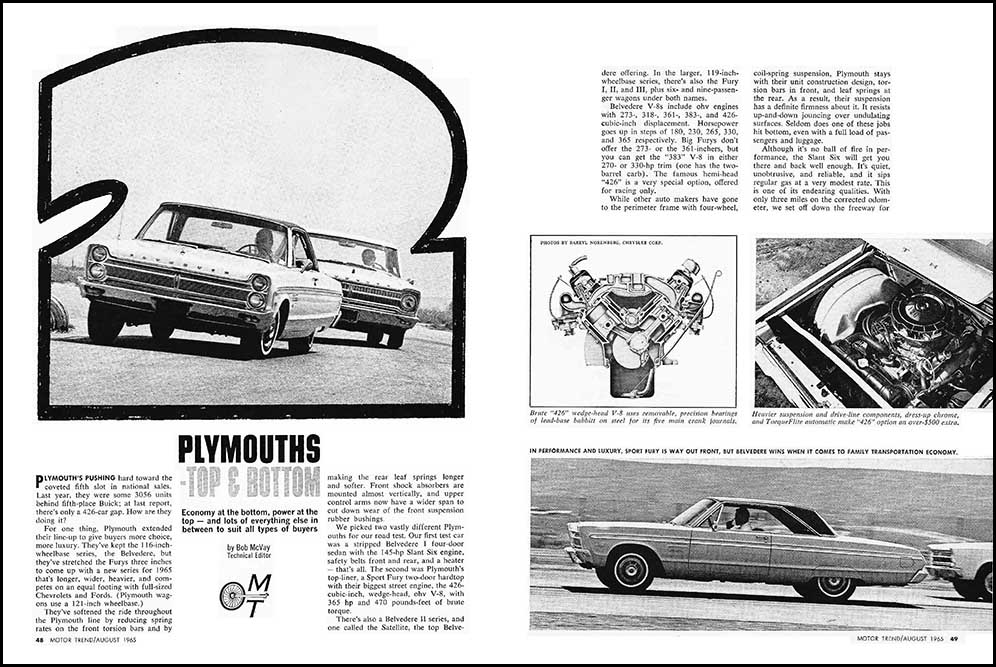 1965 Plymouth Tests