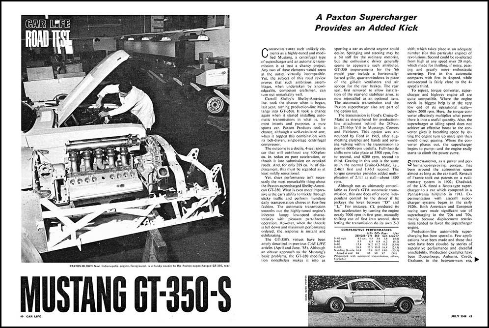 1966 Shelby GT 350 S Test