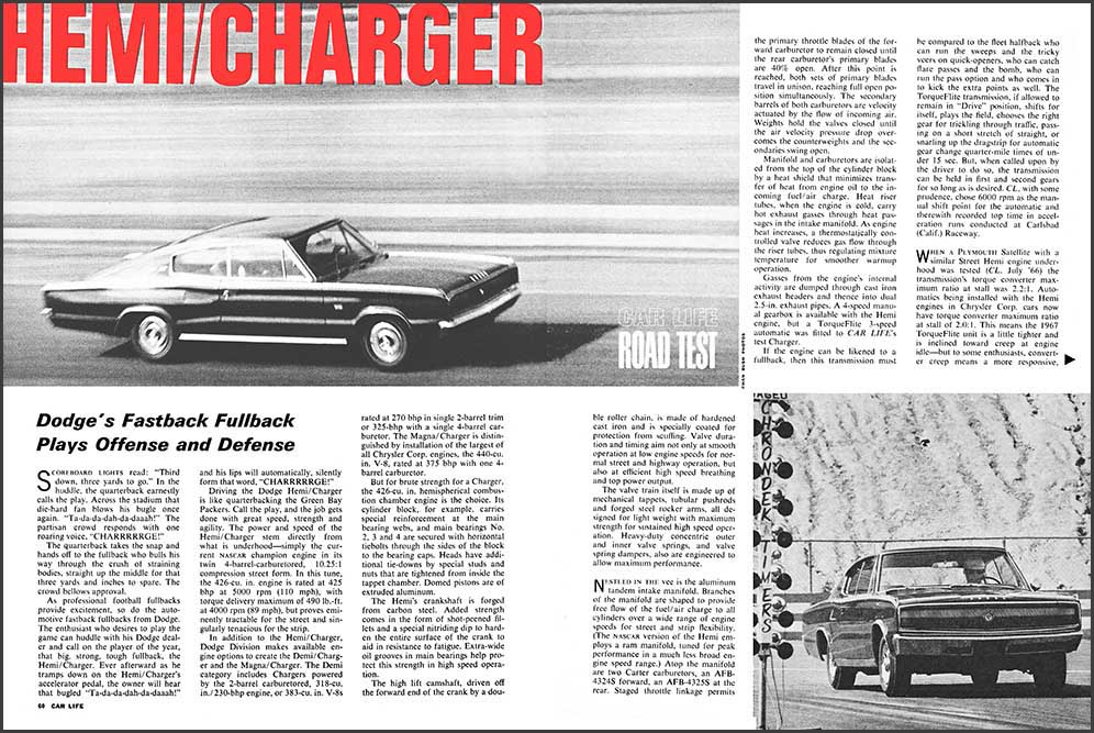 1967 Dodge Hemi Charger Test