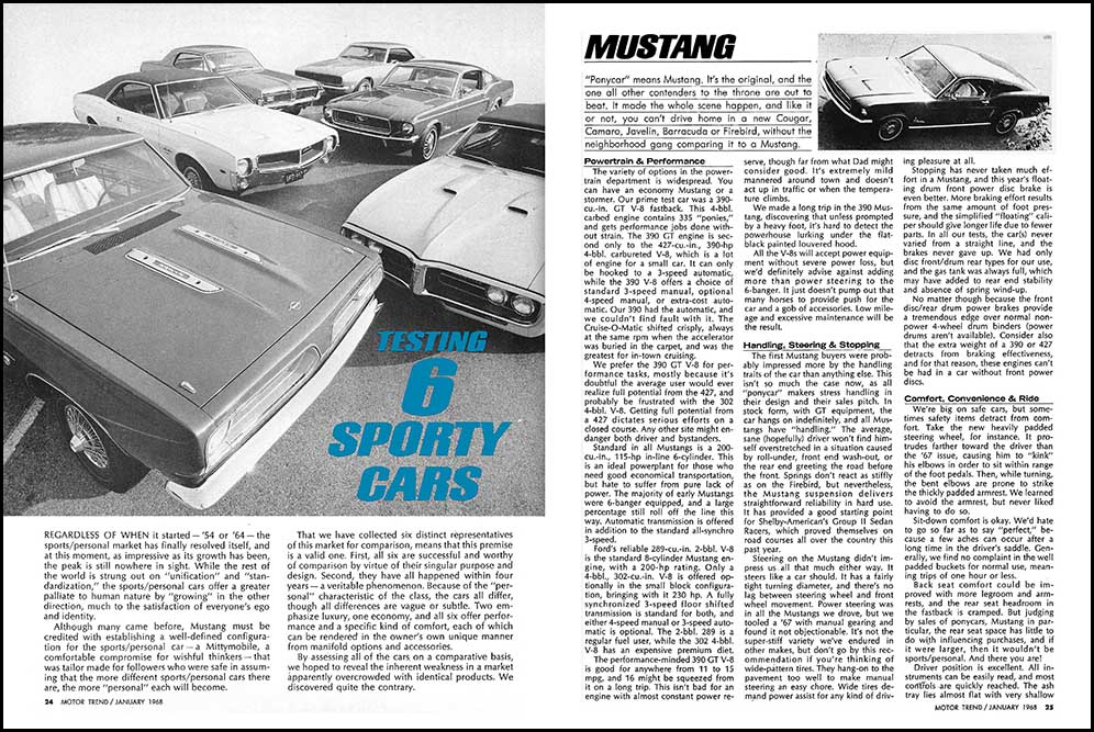 1968 Pony Cars Compared