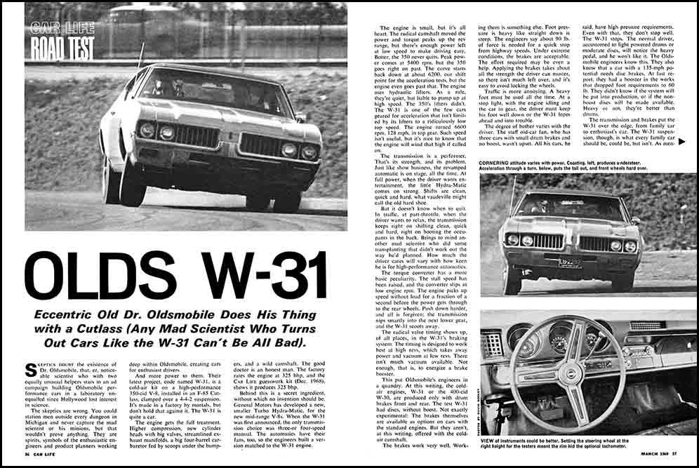 1969 Olds Cutlass W-31 Tests