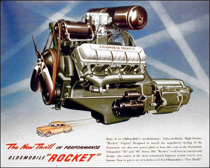 auto history preservation society tech pages article 350 Rocket Engine Horsepower oldsmobile 303 v8 intro from the 1949 brochure